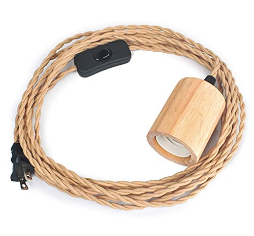 Arturesthome Wood Pendant Light Cord Kit with Switch,16.4FT Vintage Industrial Hanging Light Plug in Lamp Cord with Twisted Nylon Rope Pendant Lights Socket E26 E27 for Farmhouse Lamp Cable Retro DIY