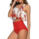 ZHUQI Damen Bikini Sets Schlinge Drucken Rüschen top Badeanzug Zweiteilige Bademode mit Hohe Taille Bikinihose Strandmode L
