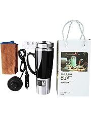 12 V Auto Waterkoker Boiler, 450 ml Elektrische Water Geïsoleerde Auto Mok, Reis Verwarmingsbeker Waterkoker, Auto Verwarming Reismok voor Hete Koffie/Melk/Thee(Zwart)