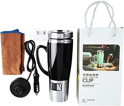 Hervidor de agua para coche de 12 V, taza eléctrica para coche con aislamiento de agua de 450 ml, taza de viaje para calefacción de coche para café/leche/té caliente(Negro)