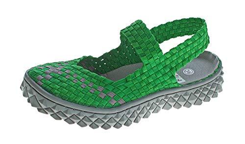 TMA Damen Ballerinas geflochten Sandalen elastisch Halb Schuhe Sandaletten 140302 Grün Gr. 38