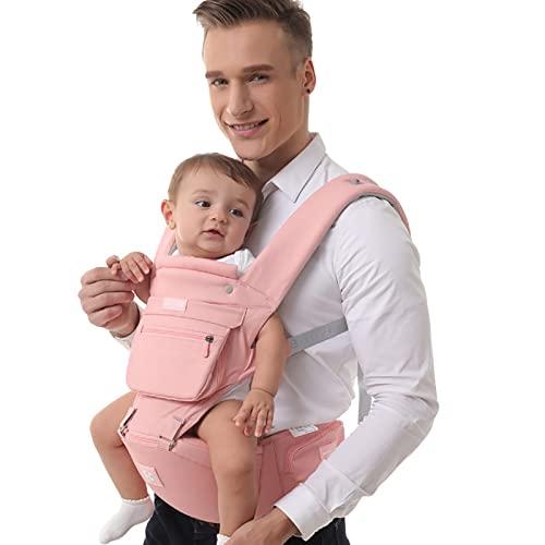WHSPORT Portabebés con Asiento Plegable, Mochila Portabebe Ergonómico con Soporte Lumbar, Porta Bebe con Posiciones de ángulo Ajustable para Recién Nacidos de 3 a 36 Meses (Color : Pink)