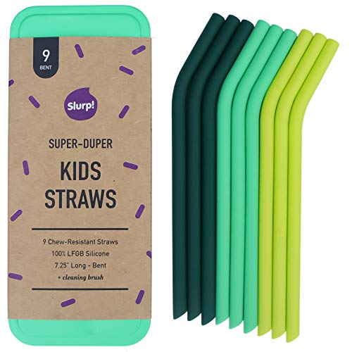 """Reusable Silicone Kids Straw, 9 Pack Short Straws for 10ounce/12ounce Yeti/Hydroflask/RTIC/Swell, Replacement Straw for Take and Toss Cups, 7.25"""" Long with Metal Storage Case"""