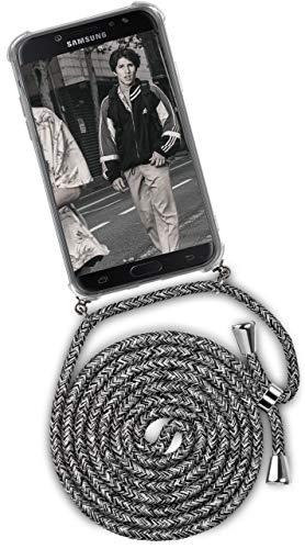 ONEFLOW Handykette kompatibel mit Samsung Galaxy J5 (2017) - Handyhülle mit Band zum Umhängen Hülle Abnehmbar Smartphone Necklace - Hülle mit Kette, Schwarz Grau Weiß