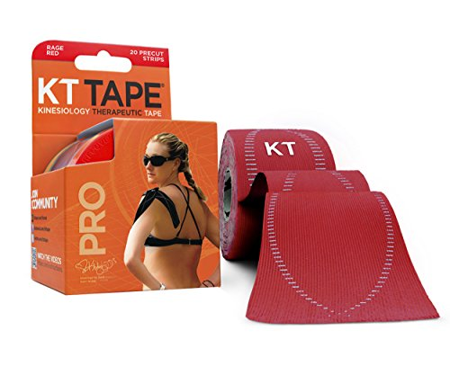 KT Tape Pro Kinesiology Therapeutic Sports Tape, 20 Precut 10 inch Strips, Rage Red, Latex Free, Water Resistance, Pro & Olympic Choice