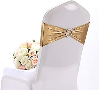 Yetomey 10PCS Chair Sashes Spandex Bow Chair Bands with Buckle Slider Sashes for Wedding Banquet Party Event Decoration (Metallic Gold)