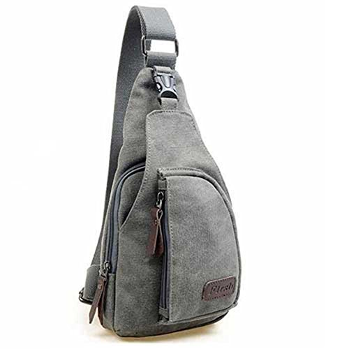 CuteMe Men's Small Canvas Military Messenger Shoulder Travel Hiking Bag Backpack (GRAY) by...