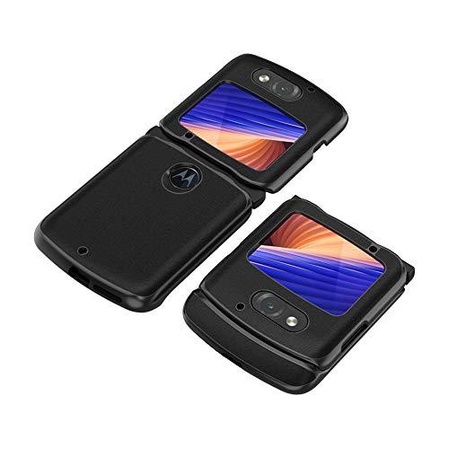 PUROOM Schutzhülle für Motorola Razr 5G (2020 Version), luxuriöses Leder, Hybrid-PC-Hartschale, vollständiger Schutz, stoßfest, Schutzhülle für Motorola Razr 5G (schwarz)