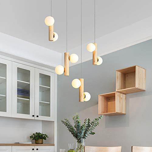 Lámpara colgante de madera rústica para comedor, bola de cristal, lámpara colgante con bombilla G9, lámpara de techo retro para mesa de comedor, salón, escalera, lámpara de techo (8 focos)