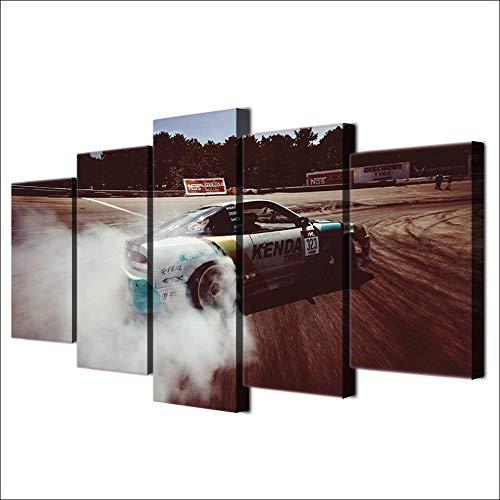 Immagine su Tela modulare decorazione Della casa arte Della parete 5 pezzi auto Sportiva Drift pittura soggiorno HD Stampa Poster No Frame
