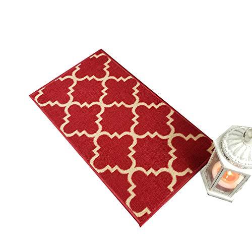 Maxy Home Hamam Moraccan Trellis Red 1 ft. 6 in. x 2 ft. 7 in. Rubber Backed Door Mat