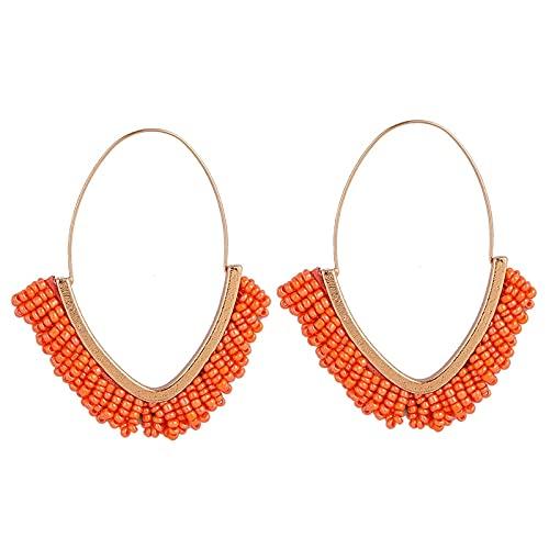 xiangwang Pendientes de gota de borla con cuentas de estilo étnico bohemio hechos a mano para mujer 2020 con forma de V de metal dorado de moda, regalo (color de metal: E1066-1 naranja)