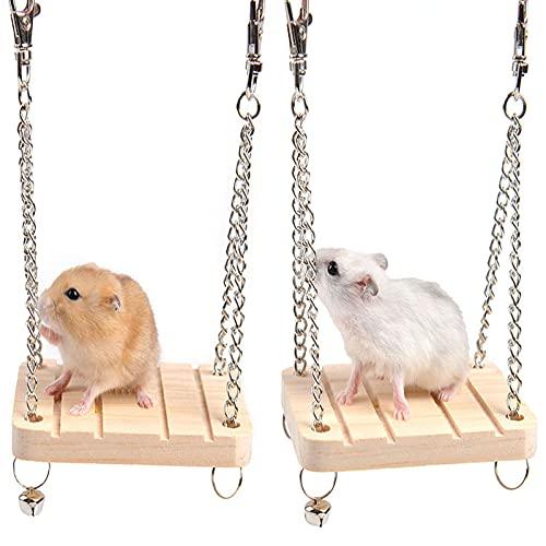 Hámster Cama Colgante de Madera Columpio de Madera para Hámster Hamster Columpio de Madera Juguetes Cama de Madera Cesta Casa Juguete para Hámsters Chinchillas y Otros Animales Pequeños 2 Piezas