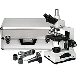 .AmScope T400 Compound Microscope with 1.3M USB Camera and Aluminum Case, WF10X and P16X Eyepiece, 4X-10X-40X-100X... .