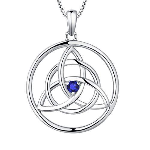 YL Kette Keltische 925 Sterling Silber September Geburtsstein Spinellblau Irische Knoten Anhänger Halskette für Damen
