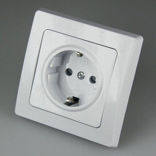 DELPHI Steckdosen / Schalter Programm (Schutzkontakt-Steckdose 250V~/16A inkl. Rahmen, Unterputzmontage, weiß, Schraubanschluss)