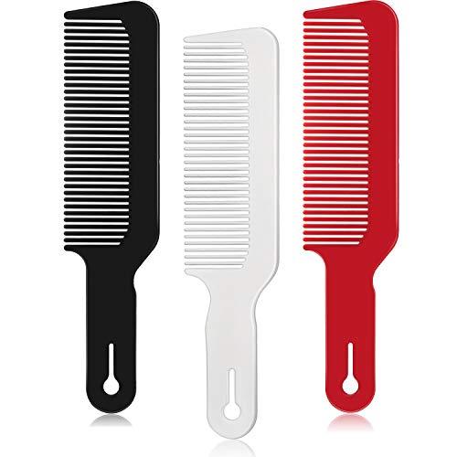 3 Packungen Barbier Kamm Clipper Kamm Flache Top Clipper Kamm Haarschneidekämme Ideal für Clipper Schnitte und Flattops (Schwarz, Weiß, Rot)