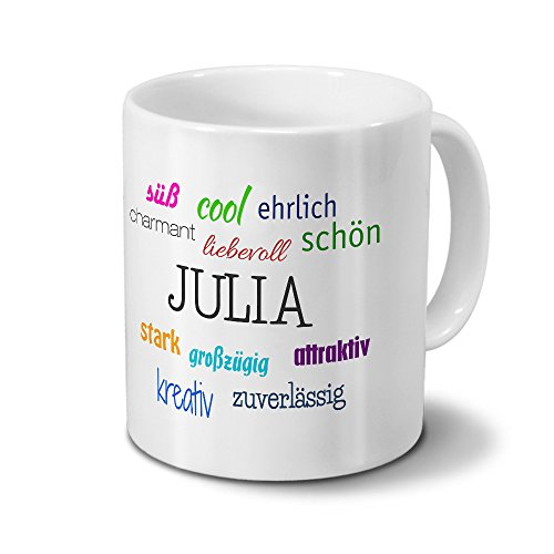 printplanet Tasse mit Namen Julia - Positive Eigenschaften von Julia - Namenstasse, Kaffeebecher, Mug, Becher, Kaffeetasse - Farbe Weiß
