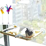 MQ Cat Window Perch, Cat Sunny Bed Seat Hammock with 2Pcs Interactive Cat Wands Suction Cup Cat Window Shelf All -Around 360Sunbath Space Save Design Holds Up to 50lb for Large Small Cats