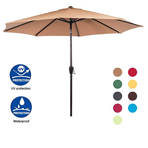 Sundale Outdoor 9 Feet Aluminum Market Umbrella Table Umbrella with Crank and Auto Tilt for Patio, Garden, Deck, Backyard, Pool, 8 Alu. Ribs, 100% Polyester Canopy, Tan