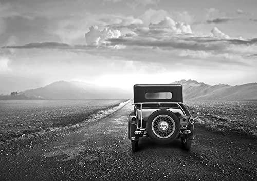 Papel pintado fotográfico con diseño de paisaje con coche en blanco y negro, impresión digital, incluye pegamento, varios tamaños