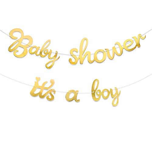 VINFUTUR 2pcs Baby Shower Party Banner zum Aufhängen, Baby Shower Girlande + It's a Boy Girlande, Hängende Metallic Bunting Babydusche Babyparty Deko