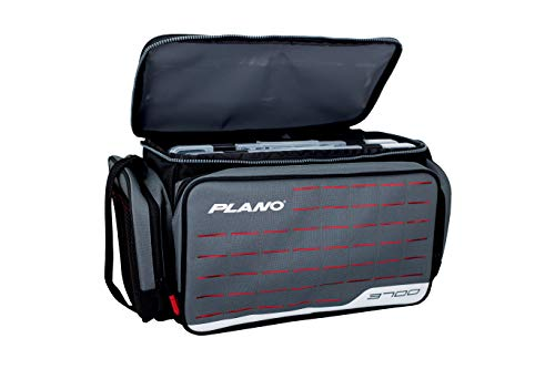 Plano Weekend Series 3700 Tackle Case   Premium Fishing Tackle Storage with Laser-Cut MOLLE Panel for Tool Storage   Includes Two Plano Stowaway Tackle Boxes   Gray/Red