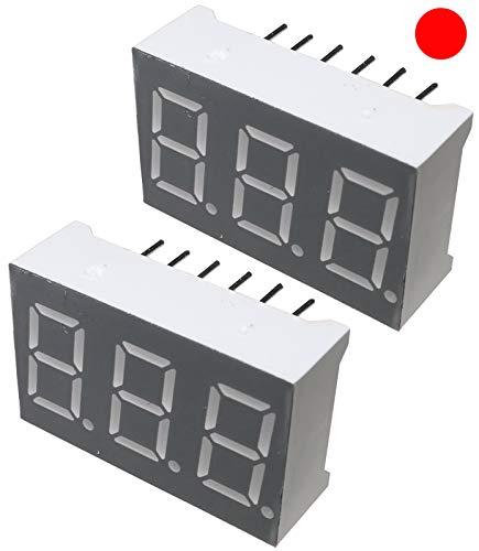 AERZETIX - Juego de 2 - Pantalla digital - módulo - paneles luminoso - display - 22.5x14x7.2mm - LED 7 segmentos - rojo - THT - número de dígitos 3 - C46202
