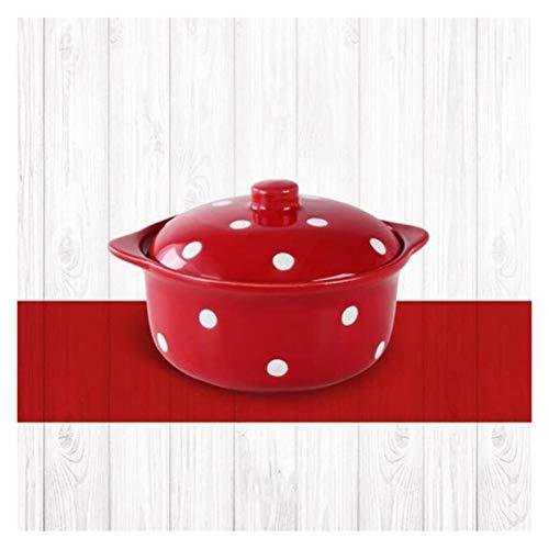 XUEXIU Punto dell'onda della Ceramica con Copertura Soup Bowl Casa Insalatiera Stoviglie Bella Faccia Ciotola Dessert zuppiera Bacino 400ml per Perfetto Pranzo e casa (Color : Red)