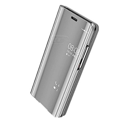 Huawei P9 Hülle, Huawei P9 Plus Hülle Mirror Hülle Spiegel Handyhülle PU Leder Flip Hülle Cover Schutz Echtleder Tasche Etui Lederhülle Schutzhülle für Huawei P9 (Silber, Huawei P9 Plus 5.5'')