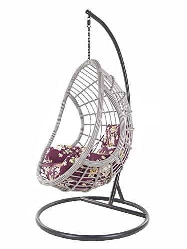 KIDEO PALMANOVA großer Hängesessel inklusive Gestell und Kissen, Polyrattan, grau (Kissen: Nest lila geblümt [3905 vino Tinto])