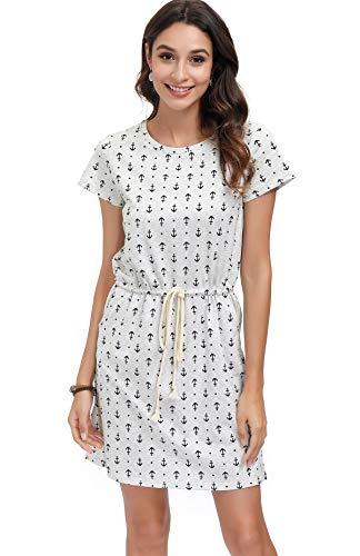 DOTIN Damen Kleid Freizeit Anker Druck Sommerkleid Lässiges T-Shirt Kleid mit Gürtel 100% Baumwolle