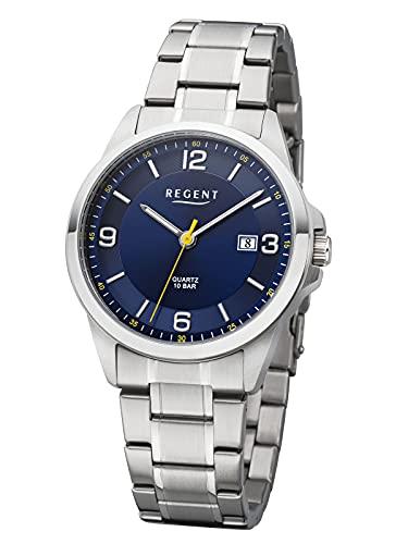 Regent Reloj de hombre con pulsera de acero inoxidable de 39 mm de diámetro, cuarzo, 10 bares, números arábigos y fecha., azul,