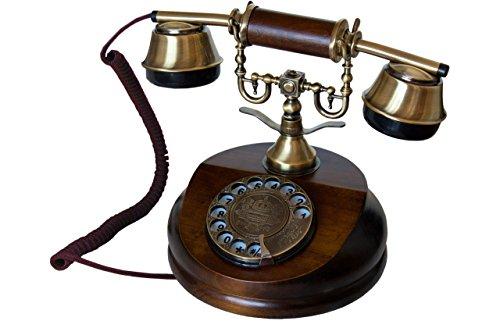 Opis 1921 Cable - Modell A - Retro Telefon aus Holz und Metall Telefon mit echter, rotierender Wählscheibe und Metallklingel
