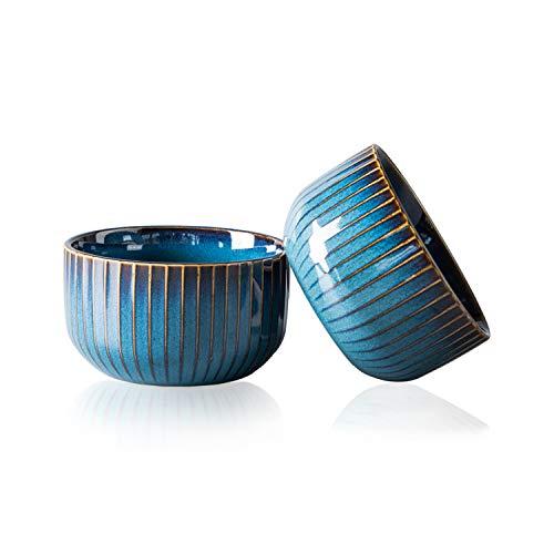 CSYY 2er Set Müslischalen aus Porzellan, Keramik kleine Schalen, Dessertschale, Snackschale, Schüssel Retro Geschirr, Blau Serie