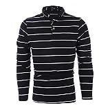 ポロシャツ メンズ 長袖 ストライプ縞 新疆綿 ゴルフシャツ カジュアル スボーツウェア アウトドア ブラック縞 M