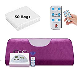 Sauna Blanket, Professional Far-Infrared Heat Sauna Heating Blanket with 50pcs Plastic Sheetings, 2 Zone Controller, Anti Ageing Beauty Machine for Body Shape Slimming Weight Detox Sp (Purple-1)