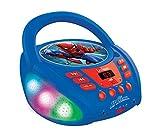 Lexibook- Marvel Uomo Ragno-Lettore CD Bluetooth per Bambini – Portatile, Effetti Multicolore, Jack per Microfono, AUX in, AC o batterie, Ragazzi, Blu/Rosso