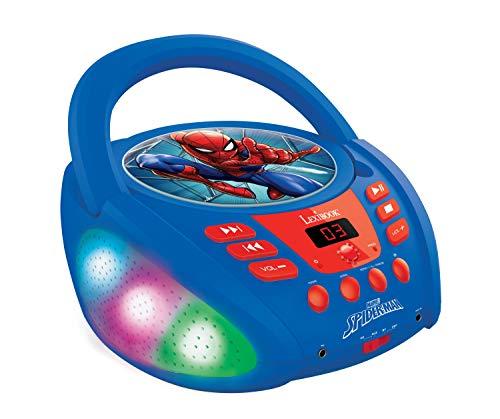 Lexibook Marvel Spider-Man-Bluetooth-CD-Player für Kinder-Tragbar, Lichteffekte, Mikrofonbuchse, Aux-In, Akku oder Netz, Mädchen, Jungen, Blau/Rot, RCD109SP