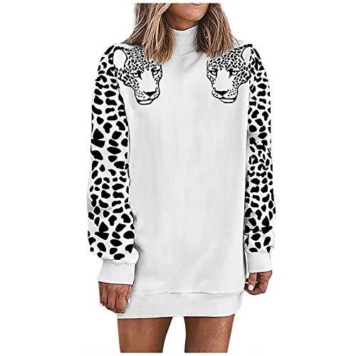 Sudaderas Jersey Sweater Sudaderas con Capucha Sociales Moda para Mujer Leopardo Cuello Alto Manga Larga Sudadera Camisa Blusa Tops Abrigo De Terciopelo S Blanco