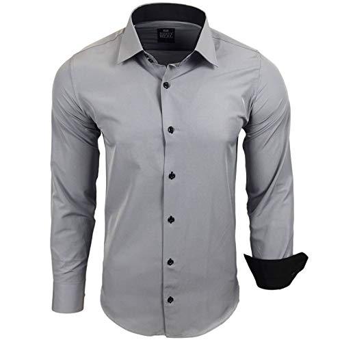 Rusty Neal Herren Hemd Stretch Business Kontrast Hemden Bügelleicht Slim 31 Farben S - 4XL, Größe:L, Farbe:Grau