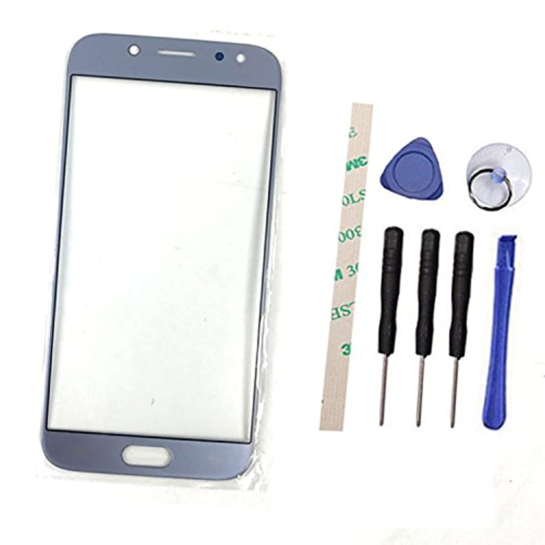 Outer Screen Front Glass Lens Replacement for Galaxy J5 pro 2017 DUOS J530 J530F/DS J530G (2017) (Not LCD and Not digitizer) with Adhesive Preinstalled (Light Blue)