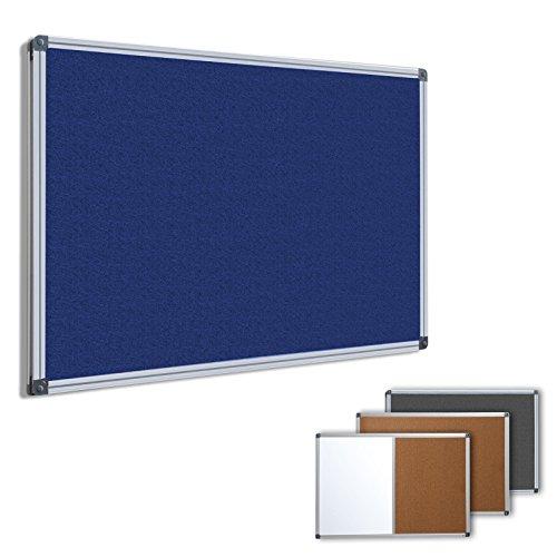 Profi Pinnwand für Büro, Schule, Küche etc. | Memoboard in vielen Größen | moderner Aluminiumrahmen | Oberfläche wählbar | Filz blau 60x45 cm