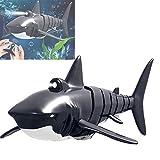 WANXJM 2.4G Fernbedienung RC Shark Boat Toy, Poolspielzeug für Kinder Geschenk, USB Charging Shark Water Toy, für Pool Badewanne Wassertank,Grau