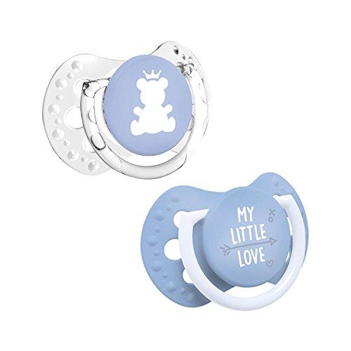 LOVI 2x Mini sucette en silicone bébé 0-2 mois | Lot de 2 | Petit bouclier lumineux | Protège le réflexe de succion | Housse hygiénique | Collection My Little Love | Bleu