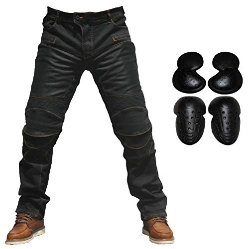 2019 Men Motorcycle Riding Jeans Armor Racing Cycling Pants with Upgrade Knee Hip Protector Pads (Black, XXL=36)
