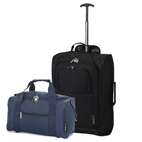 5 Cities Set of 2 Hand Luggage Set Including Ryanair Cabin Approved 55x40x20cm Trolley Bag & 40x20x25 Ryanair Maximum Holdall Under Seat Flight Bag (Black + Navy)
