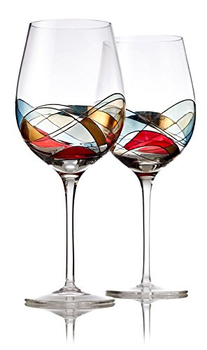 """Bezrat Red Wine Glasses Set of 2, Hand Painted Wine Glasses, Drinkware Essentials, 11"""" H, 28oz Wine Lover Large Wine Glass, Glassware Gifts Ideas for Women Inspired by The 'Duomo di Milano' (Red)"""