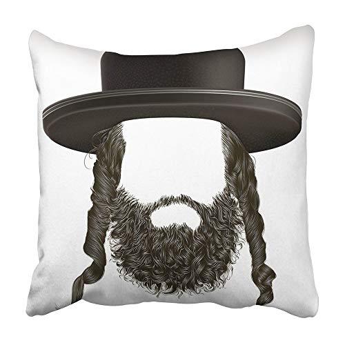 Kinhevao Cojín Decorativo Almohadillas Laterales de Pelo Negro judío con máscara de Barba Peluca Judío Hassid con Sombrero Pascua judía Almohada ortodoxa Earlock