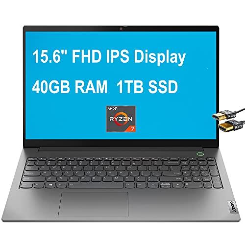 Flagship 2021 Lenovo ThinkBook 15 G2 Gen 2 Business Laptop 15.6' FHD IPS Anti-Glare AMD Octa-Core Ryzen 7 4700U (Beats i7-10510Y) 40GB RAM 1TB SSD Backlit FP Dolby Win10 Pro Gray + HDMI Cable